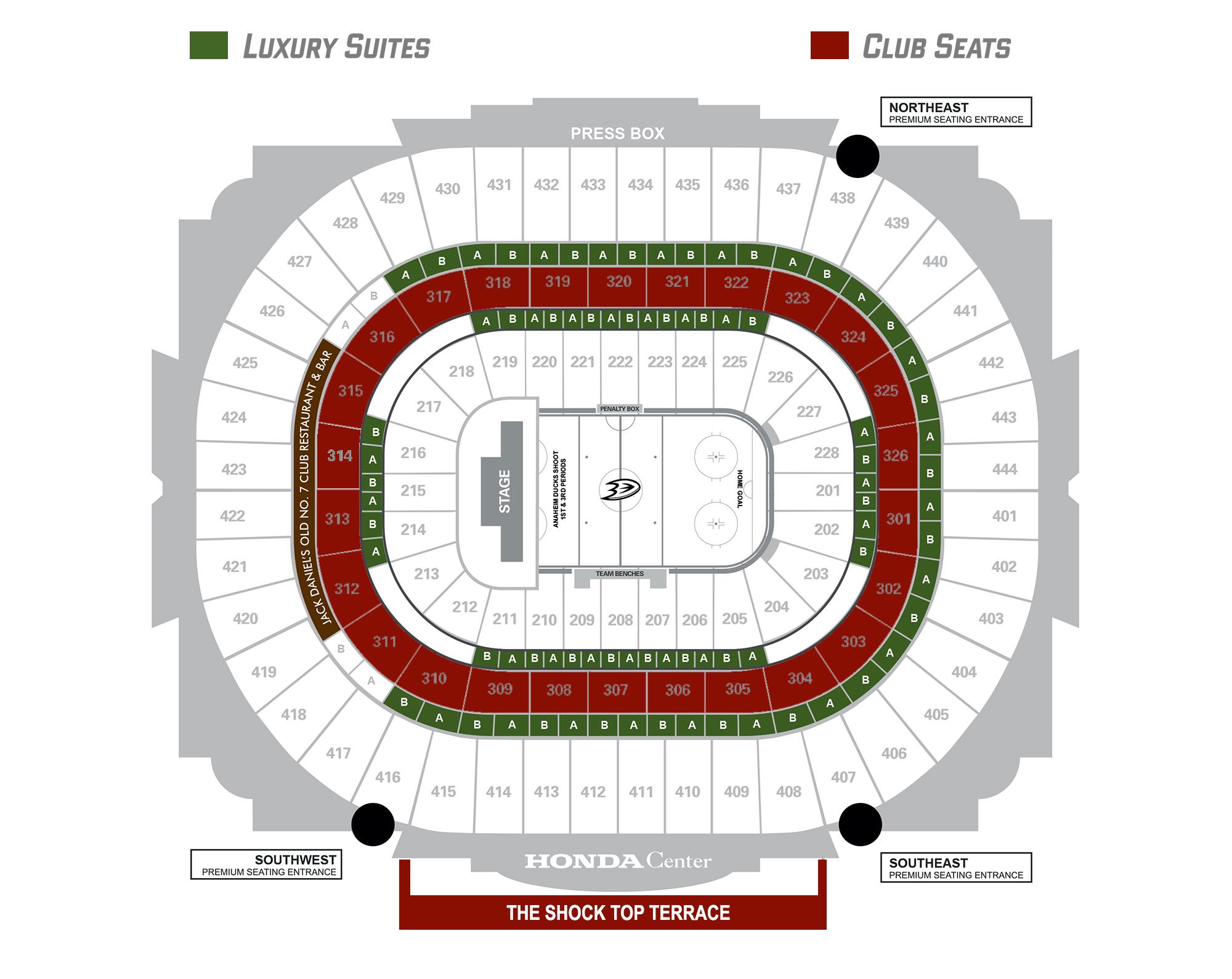 Seating Map Honda Center